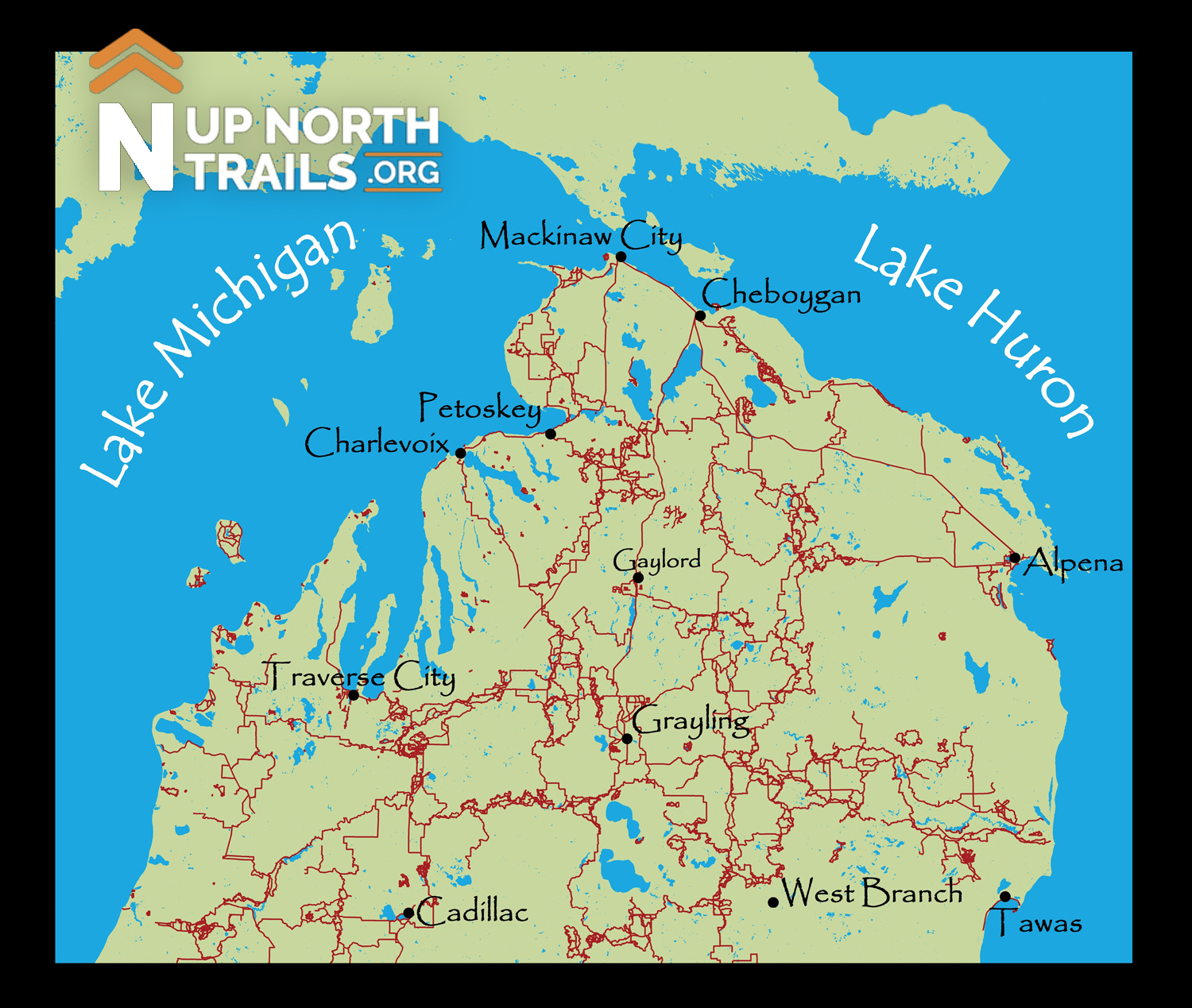 Northern michigan biking snowmobiling hiking orv trails up image sciox Image collections